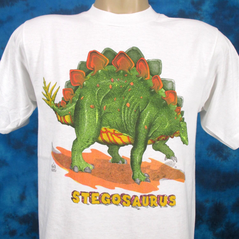 NOS Vintage 80s STEGOSAURUS DINOSAUR Cartoon T-Shirt