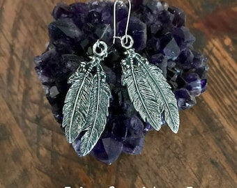 Large Feather Earrings in Australian Made Pewter