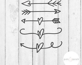 Arrow SVG - Heart Arrow SVG - Heart Flourishes SVG - Heart Brackets Svg - Arrow Clipart - Arrow Cut File - Arrow Svg Bundle -Handdrawn arrow