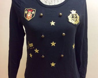 Navy military style embroidered sweater with badges