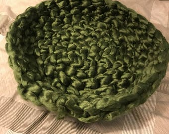 Hand-Knit Crochet Cat Beds, Chunky Hand-Knit Pet Bed, Small Dog Bed