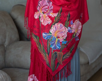 to order evening shawl women's christmas gifts for mom flowers scarf hand painted cashmere scarf painted silk batik shawl dress gift