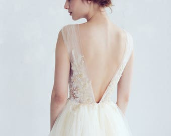 Champagne and ivory tulle wedding dress // Dione / Open back bridal gown, lace embroidered top, long train tulle dress, bohemian gown