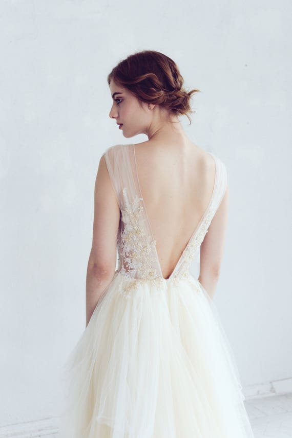 Champagne and ivory tulle wedding dress // Dione / Open back