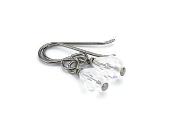 Niobium Earrings Clear Crystal Drops, Hypoallergenic Titanium Earrings for Sensitive Ears, Swarovski Crystal Teardrops, No Nickel Jewelry