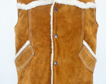 70s Suede Sherpa Vest, Men's Size Large, Suede Leather Vest, Faux Shearling Lined, Button Snap, Jcpenney, Leather Western Vest