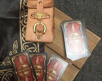 Handcrafted embossed leather Tarot card case w/ belt loop