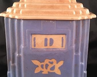 Vintage Harker, Blue Drip Jar and Lid. Carv-Kraft In White Rose pattern