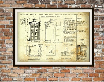 Tardis Print Poster, Dr Who Blueprint, The Tardis Blueprint, Art of The Tardis, Whovian Gift - Police Box Print Art Item 0101C