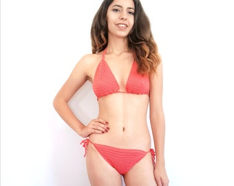 Boho Crochet Bikini, Crochet Swimsuit, Brazilian Bikini, Triangle Bikini Top, Lace Bikini Set, Boho Bikini, Gift for Women