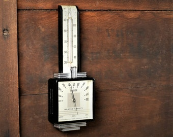 Vintage 1930s Airguide Art Deco Bakelite Wall Thermometer Temperature Humidity Gauge Instrument Indoor Hydrometer Weather Station #C390