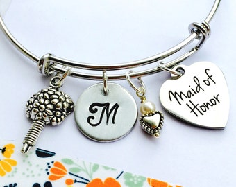 Maid of Honor Bracelet, Gift for Maid of Honor, Wedding Bracelet, Maid of Honor Jewelry, Adjustable Bracelet, Will you be my Maid of Honor