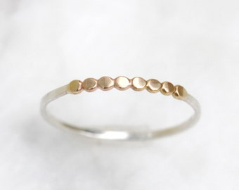 Demi-Orbit Band - Simple Sterling Silver Stacking RIng with Hammered 14k Beaded Wire Center Section, Mixed Metal, Minimalist, Boho Style