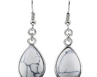 Earrings dangle drop silver plated - howlite