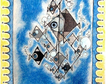 Fish in Iraq,  Fish,  Baghdad Culture, Iraqi Art, Graphic Design, 16x20 inch Drawing