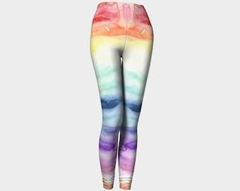 Watercolor Rainbow Art Leggings, Eco-friendly and printed from original art