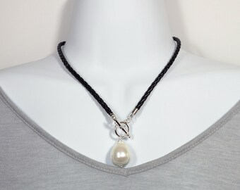 Majorica Style Braided leather Created Baroque Pearl Necklace