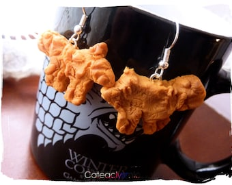 Game Of Thrones inspired Hot Pie Direwolf Bread Earrings