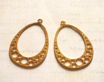 2 large oval connectors openwork goldtone 42x30mm