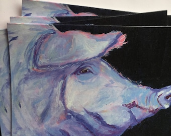 Lavender Pig Profile Note Card Set from Original Oil Painting