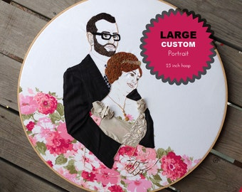 CUSTOM Large Scale Portrait Hand Embroidered; Large Wall Art Portrait; Custom Embroidered Individual or Couple's Portrait