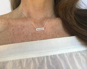 Sterling Silver Open Rectangle Necklace, Everyday Necklace, Layering Necklace, Dainty, Minimalist, Simple Necklace, Simple Silver Necklace