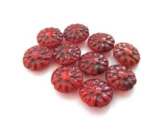 Deep Red Dahlia Flower Czech Glass Lentil Beads with Black Inlay, 14mm - 5 pieces