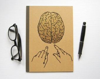The Brain Journal - B5 Blank Notebook Lined Pages Recycled Paper - Screenprint Book - Hand Painted Gold Art Book - Kraft Softcover Book