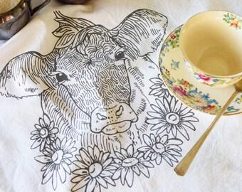 Flour Sack Towel - Screen Print - Cow Towel - Dish Cloth - Organic Cotton - Kitchen Towels