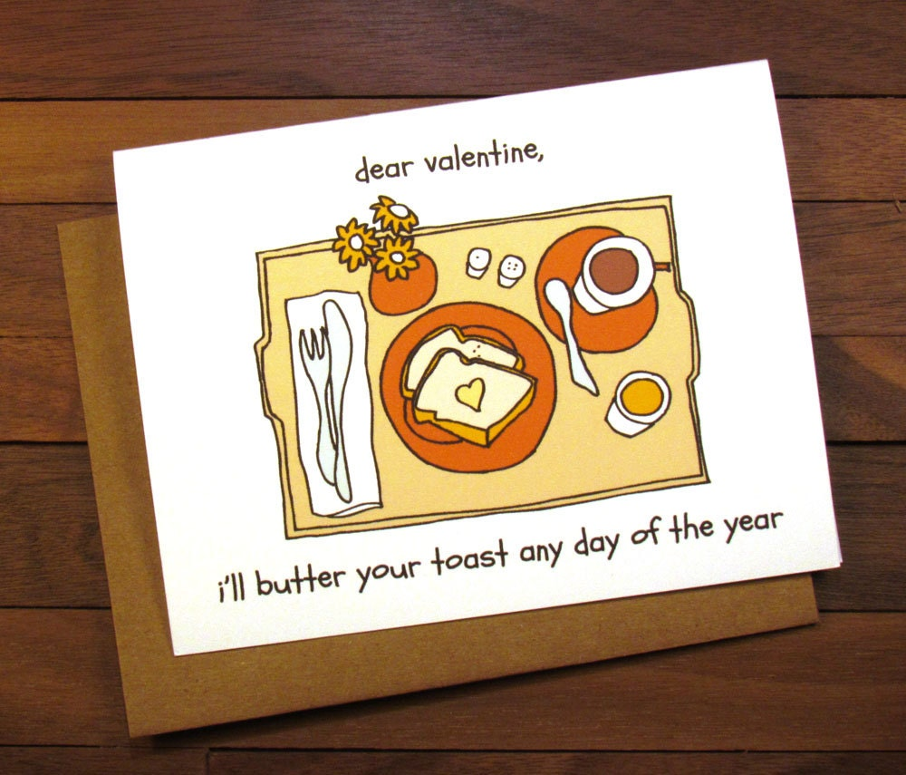 Funny Valentines Card Breakfast in Bed Card for your