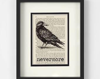 Edgar Allan Poe - Raven, Nevermore over Vintage Edgar Allan Poe Book Page - Edgar Allen Poe, Poe Git, Quoth The Raven Nevermore, Halloween
