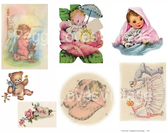 Sweet Babies 1 Digital Collage from Vintage Greeting Cards - Instant Download - Cut Outs