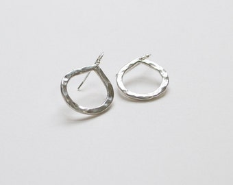 Audrey's Tear / Sterling Tear Drop Earring / Hammered Jewelry