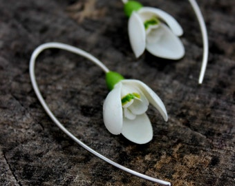 Snowdrops silver 925 earrings, spring cold porcelain floral earrings