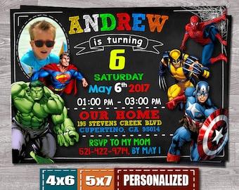 Avengers Birthday Invitation Super Hero Birthday Invitation