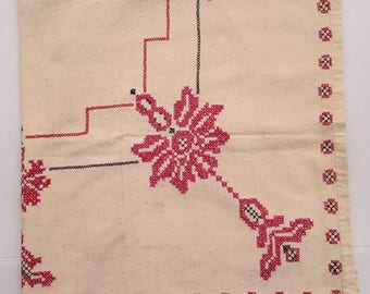 "Vintage Christmas Hand Cross Stitch Beige Tablecloth Red Floral 40"" x 45"""