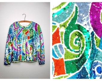 PSYCHEDELIC Bright Sequined Trophy Jacket // Neon Sequin Embellished Geometric Top by Adrienne Vittadini Large