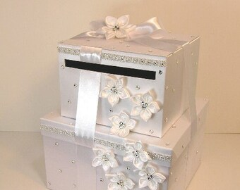 Wedding Card Box 2 tier White Gift Card Box Money Card Box Holder-customize your color