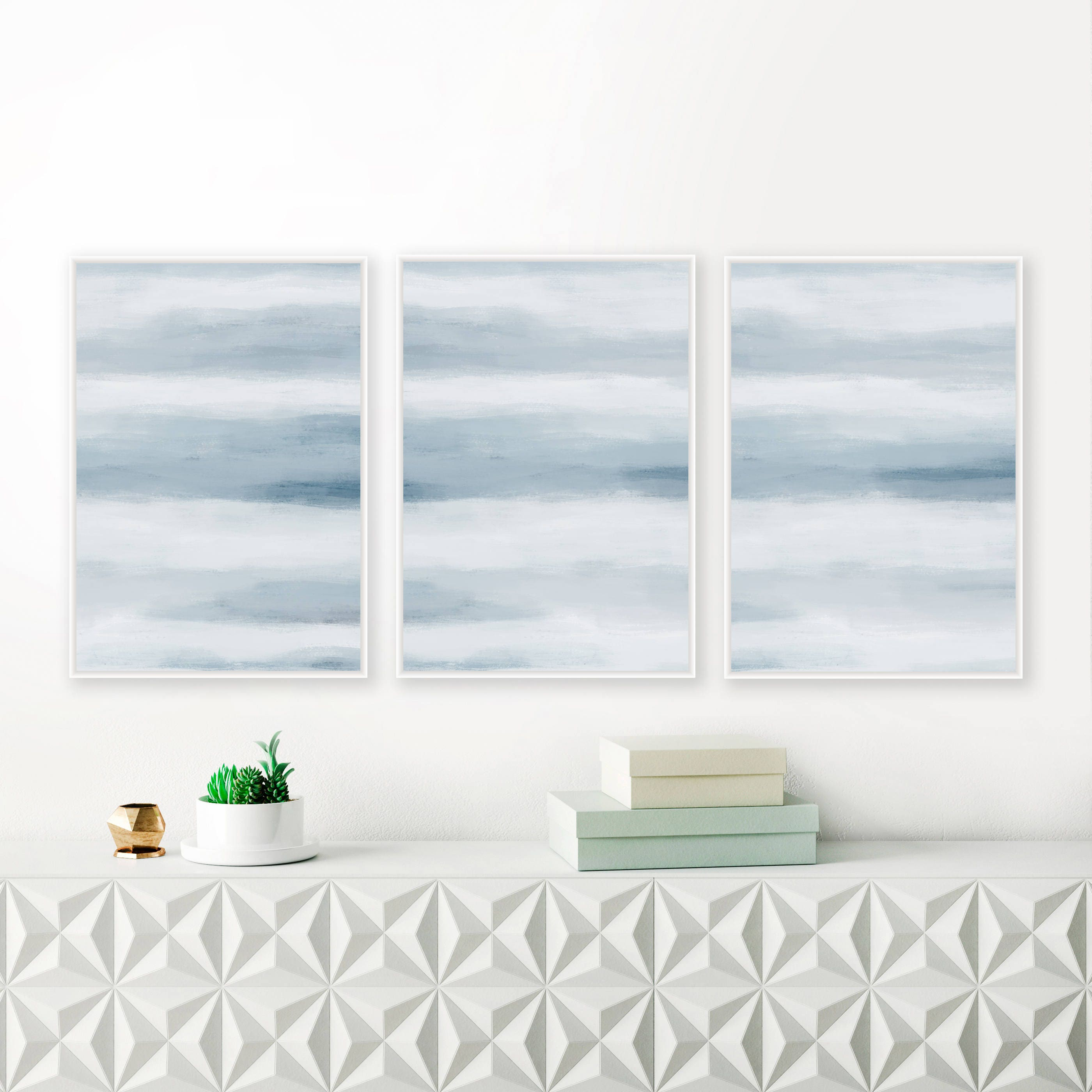 A Set of 3 Blue Abstract Prints, 24x36 Art Prints, Blue Nursery ...