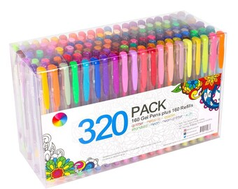 320 Pack Gel Pens Set 160 colors Gel Pens with 160 Refills For Adult Coloring books Drawing Painting Writing USA Seller with Fast Shipping
