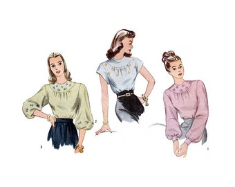 "1940s High Neckline Blouse Women's Sewing Pattern, Bishop Sleeves, Short Sleeve, Size 16 Bust 34"" Vintage 40's Simplicity 1796"