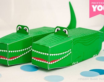 Alligator Favor Box : DIY Printable Crocodile PDF // Peter Pan, Florida Gators and Reptile Birthday Party Gift Box - Instant Download