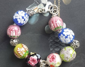 Floral Lamp Work Glass Bracelet with sterling silver chain