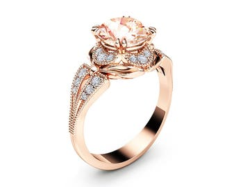 Morganite Engagement Ring Unique 14K Rose Gold Ring Art Deco Morganite Ring Rose Gold Engagement Ring