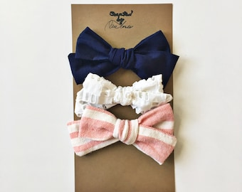 Rustic Red and White Stripe/White Eyelet/Navy Blue Handtied Little Girl Bows