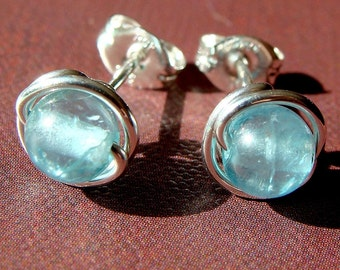 Blue Apatite Studs Apatite Post Earrings Wire Wrapped in Sterling Silver Apatite Studs 5-5.5mm