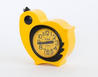 Vintage Chicken Alarm Clock, Mechanical Alarm Clock Slava, Working Old Clock, Kids Room Decor, Yellow Wind up Alarm Clock Soviet Russia 70's