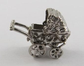 Baby Stroller Mechanical Silver Vintage Charm For Bracelet