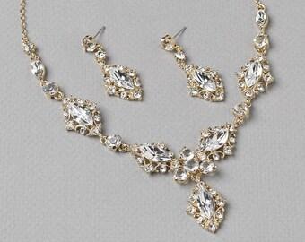 Gold Bridal Jewelry Set, Vintage Jewelry Set, Gold Bridal Accessories, Gold Wedding Jewelry, Gold Bridal Jewelry, Gold Jewelry Set ~JS-618