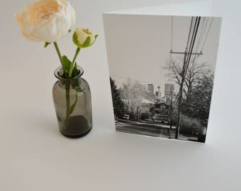 Black & White Calgary Card, Greeting Cards, YYC City Photo, Set of Blank Cards With Envelopes